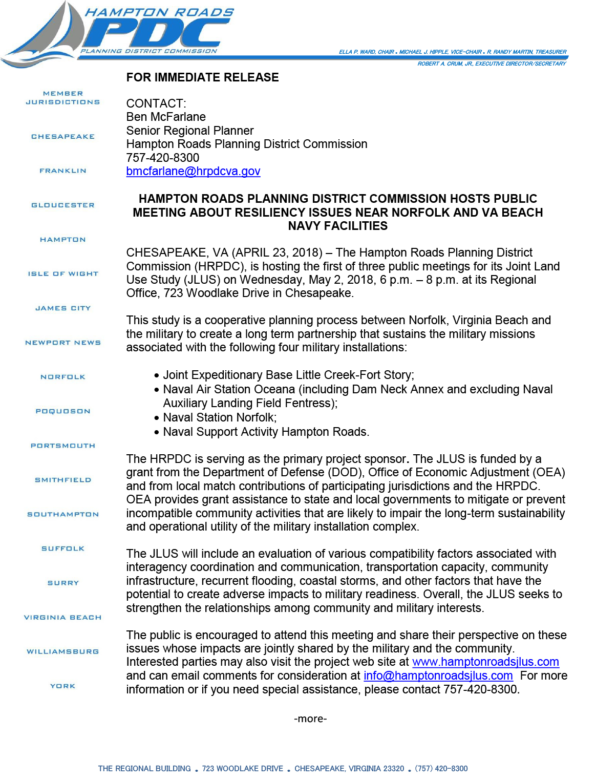 HRPDC Press Release Announcing May 2, 2018, Public Meeting for JLUS, Regional Building Chesapeake VA