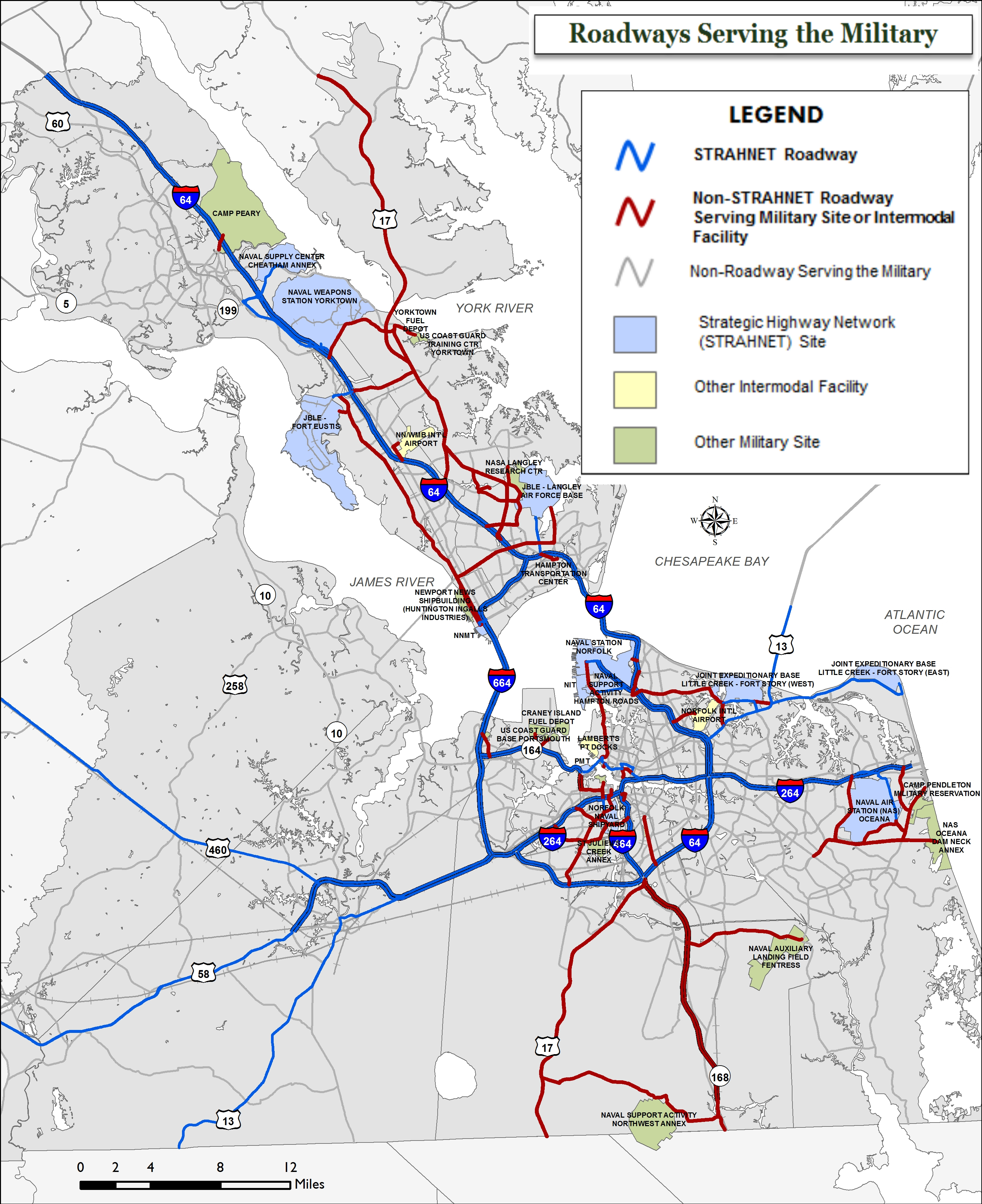 Map highlighting the roadways that server the local military installations.