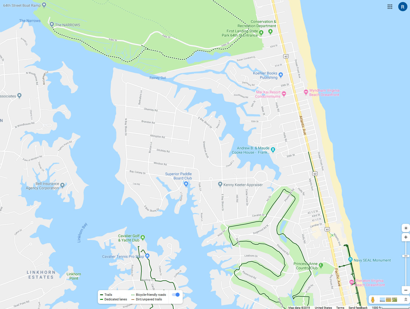 Map of Cape Henry Trail and Oceanfront