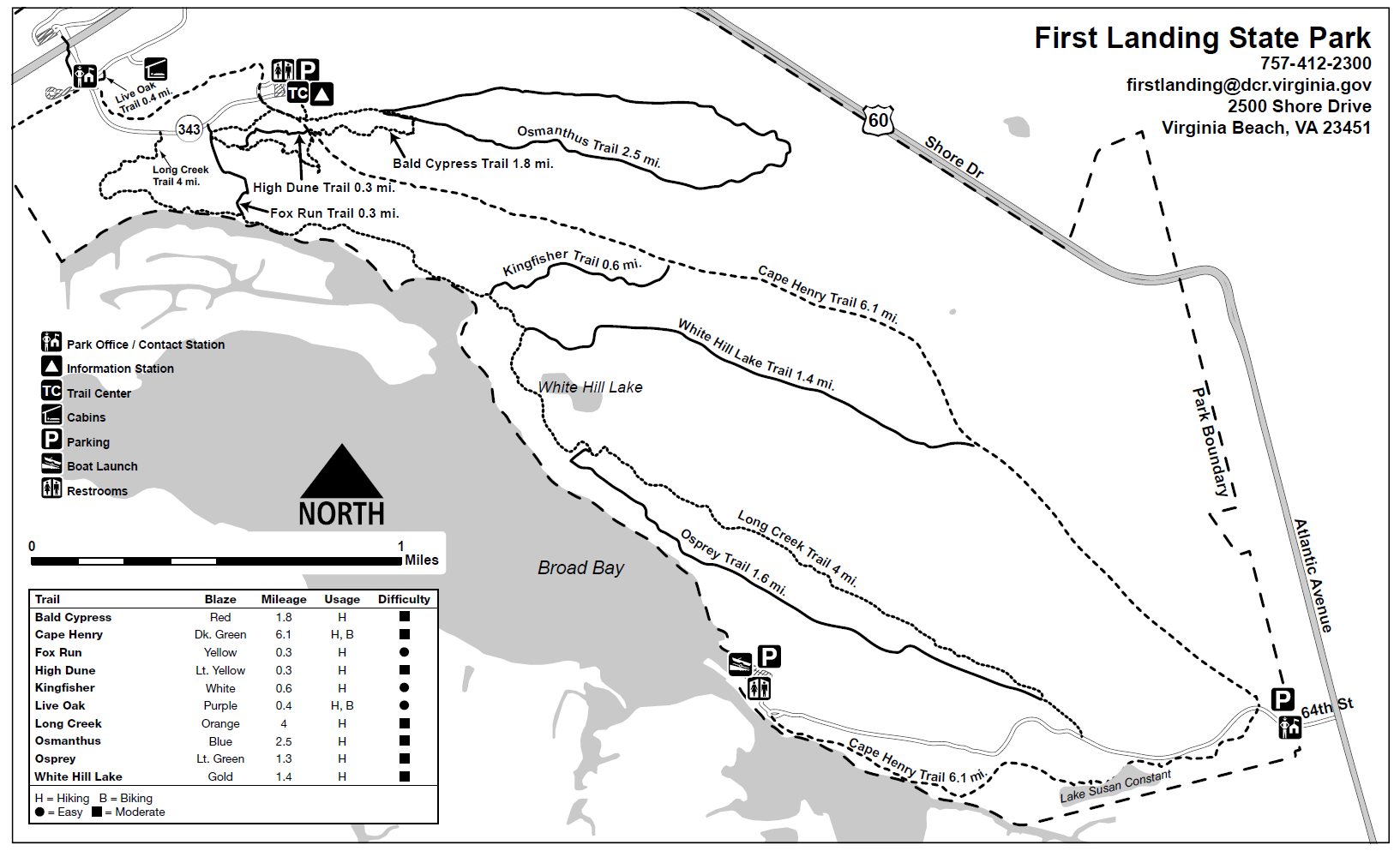 Map of the Eastern Section of Cape Henry Trail
