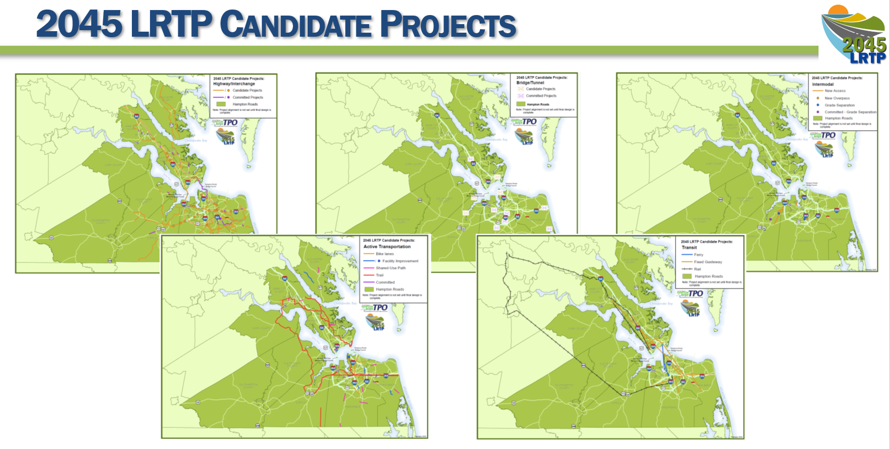 Collection of maps with examples of Candidate projects for the 2045 LRTP