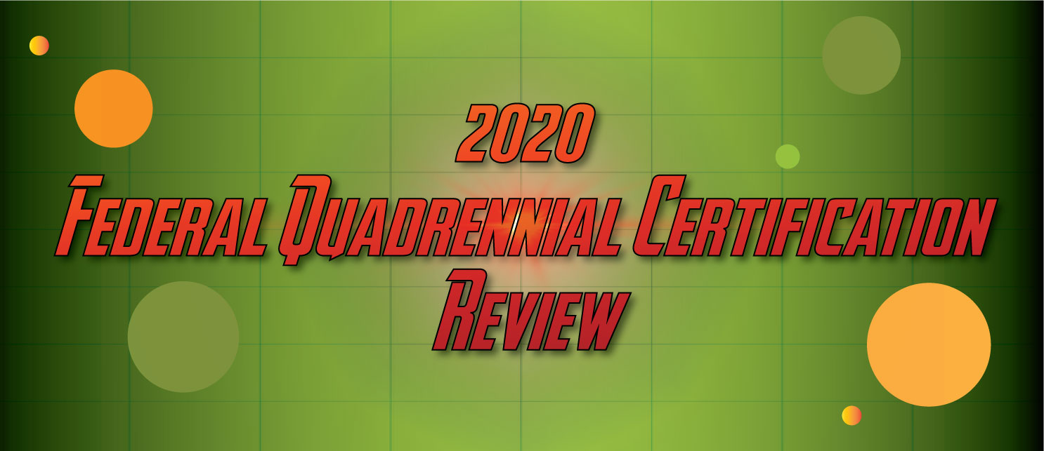 "Text ""2020 Federal Quadrennial Certification Review"" on a green background"