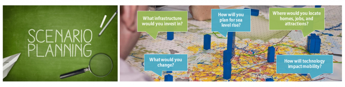 Scenario Planning Header photo. People looking at a map with plastic blocks representing growth areas.